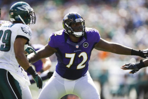 Sep 16, 2012; Philadelphia, PA, USA; Baltimore Ravens guard Kelechi Osemele (72) blocks during the second quarter against the Philadelphia Eagles at Lincoln Financial Field. The Eagles defeated the Ravens 24-23. Mandatory Credit: Howard Smith-US PRESSWIRE