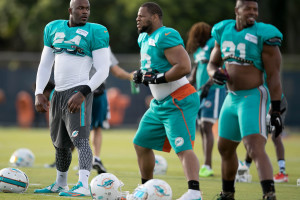 Miami Dolphins defensive end Mario Williams (94), Miami Dolphins defensive tackle Ndamukong Suh (93) and Miami Dolphins defensive end Cameron Wake (91) stretch at the beginning of practice at Miami Dolphins training camp in Davie, Florida on July 31, 2016. (Allen Eyestone / The Palm Beach Post)